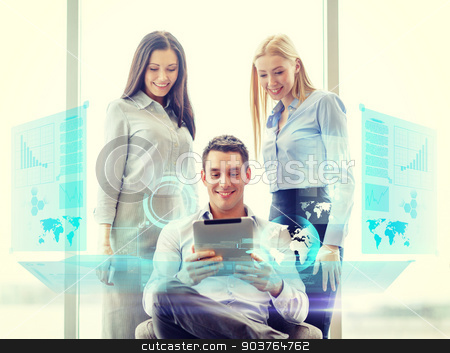 business team working with tablet pc in office stock photo, business and office concept - smiling business team working with tablet pc in office by Syda Productions