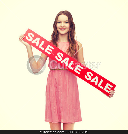 young woman in dress with sale sign stock photo, beauty, fashion, shopping and happy people concept - young woman in dress with sale sign by Syda Productions