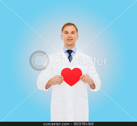 smiling male doctor with red heart stock photo, medicine, profession, charity and healthcare concept - smiling male doctor with red heart over blue background by Syda Productions