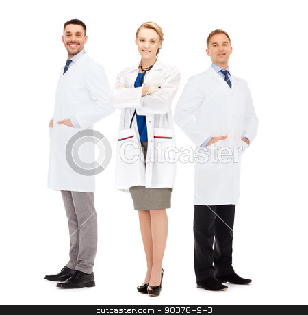 group of smiling doctors in white coats stock photo, healthcare, profession and medicine concept - group of smiling doctors in white coats over white background by Syda Productions