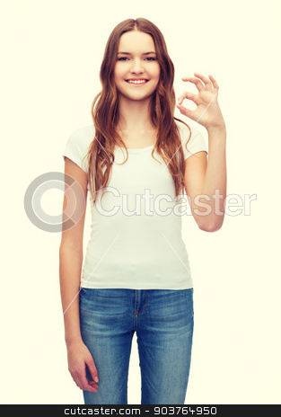 woman in blank white t-shirt showing ok gesture stock photo, happy people concept - smiling woman in blank white t-shirt showing ok gesture by Syda Productions