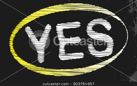 Yes Blackboard stock vector clipart, A blackboard with a chalk word yes by Kotto