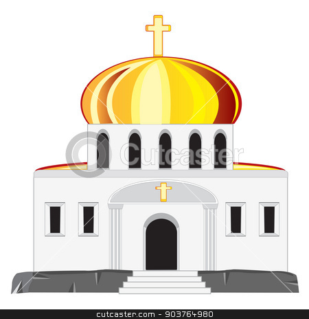 Church with dome stock vector clipart, Vector illustration church on white background is insulated by cobol1964