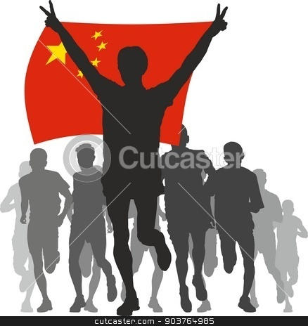 Winner with theChina flag at the finish stock vector clipart, Illustration silhouettes of athletes, runners at the finish, winner holding China flag overhead by Čerešňák