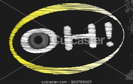 OH Blackboard stock vector clipart, A blackboard with a chalk word OH by Kotto