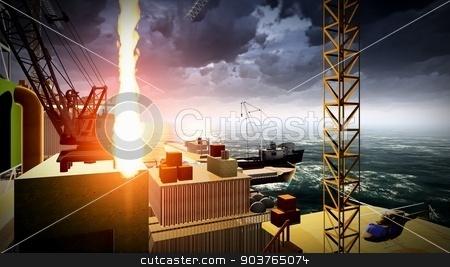 Oil rig  platform stock photo, Oil rig  platform at night by Dariusz Miszkiel