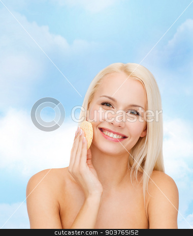 beautiful woman with sponge stock photo, health, beauty and spa concept - beautiful woman with sponge by Syda Productions