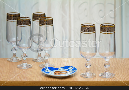 Six beautiful glass of the glass. stock photo, On the table near the window there are six beautiful glass of wine. by Georgina198