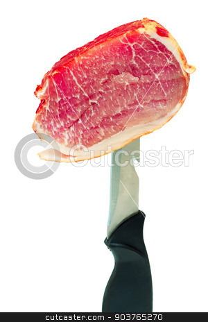 Ham on the edge of a knife on a white background. stock photo, Tasty piece of ham on a knife edge . Presented on a white background. by Georgina198