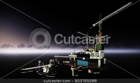 Oil rig  platform stock photo, Oil rig  platform at night by Dariusz Miszkiel