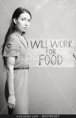 unemployment stock photo, young girl holds a cardboard sign. Will Work for Food. black and white.  by Suchota