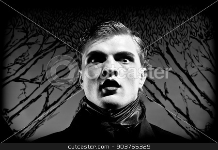 silent stock photo, A young man in vintage clothes with vintage makeup. Black and white. Artistic background created by me by Suchota