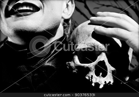 mask of depression stock photo, A young man dressed in black with a skull in his hands. Black and white. Artistic background created by me by Suchota