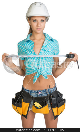 Beautiful girl in white helmet, shorts and shirt holding tape-measure stock photo, Beautiful girl in white helmet, shorts and shirt holding tape-measure. Isolated over white background by cherezoff