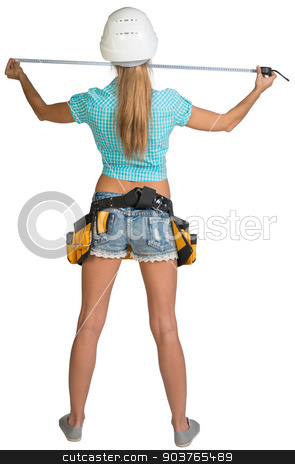 Beautiful girl in white helmet, shorts and shirt holding tape-measure. Full length rear view stock photo, Beautiful girl in white helmet, shorts and shirt holding tape-measure. Full length rear view. Isolated over white background by cherezoff