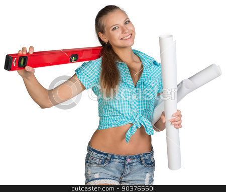 Pretty woman holding paper scrolls and red building level stock photo, Pretty woman in shorts and shirt smiling and holding paper scrolls and red building level. Isolated over white background by cherezoff