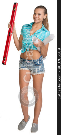 Pretty woman holding paper scrolls and red building level. Full length stock photo, Pretty woman in shorts and shirt smiling and holding paper scrolls and red building level. Full length. Isolated over white background by cherezoff