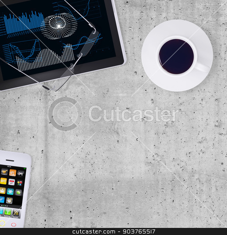 Tablet PC, smartphone, and cup of coffee stock photo, Tablet PC, smartphone and cuo of coffee on smooth stone surface, half-empty background, top view by cherezoff