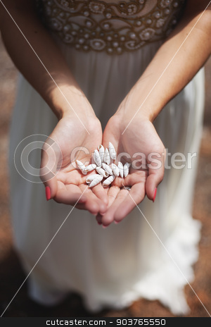 Woman holding shell in her hands stock photo, Woman holding small shell in her hands. by Sergiy Artsaba