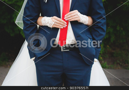 happy married couple bride and groom stock photo, Wedding day. happy married couple bride and groom. Woman holds on mans tie. by Sergiy Artsaba