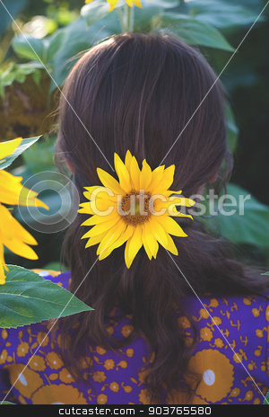 Young woman with sunflower in her hands. Back view stock photo, Young woman with sunflower in her hands. Back view. by Sergiy Artsaba