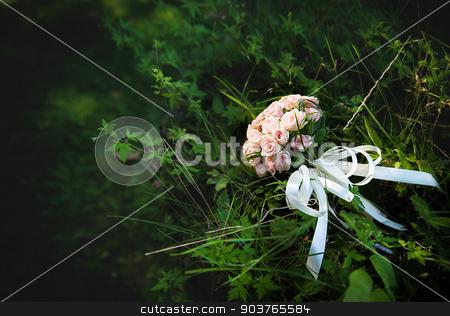 beautiful wedding pink flowers bouquet stock photo, beautiful wedding pink flowers bouquet on the green grass. by Sergiy Artsaba