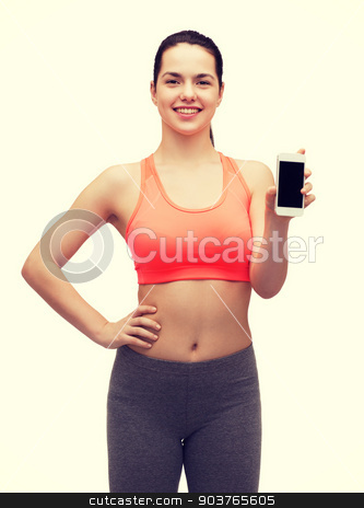 sporty woman with smartphone stock photo, sport, excercise, technology, internet and healthcare - sporty woman with blank smartphone screen by Syda Productions