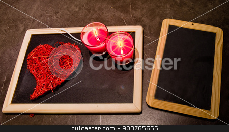candle , roses , a blackboard stock photo, A sweet heart , roses , a blackboard to write our love by Piermichele Malucchi