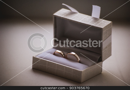 wedding rings in grey box stock photo, two wedding rings in grey box with bow by Maksym Fesenko