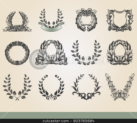 Laurel wreaths.  stock vector clipart, Set from laurel wreath on the white background  by Firin