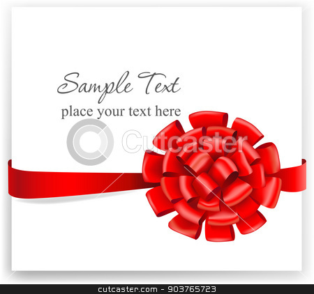 Greeting card with a red ribbon.  stock vector clipart, Greeting card with a red ribbon. Vector illustration.  by Firin