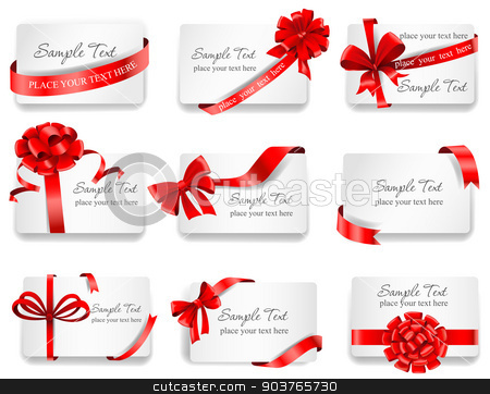 Festive cards with red gift ribbons.  stock vector clipart, Set of beautiful cards with red gift bows with ribbons. Vector illustration.  by Firin