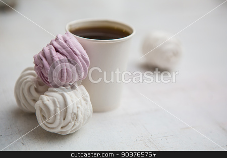 Cup Of Coffee stock photo, Coffee Espresso. Cup Of Coffee. Coffee in takeaway cup with dessert by Andriy
