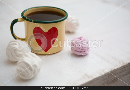 Cup Of Coffee stock photo, Cup Of Coffee. Coffee in cup with red heart and dessert by Andriy