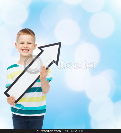 smiling little boy with blank arrow pointing right stock photo, advertising, direction and childhood concept - smiling little boy with white blank arrow pointing up over blue background by Syda Productions