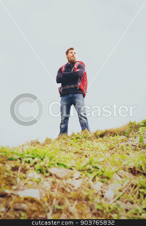 smiling man with backpack hiking stock photo, adventure, travel, tourism, hike and people concept - smiling man with backpack outdoors by Syda Productions