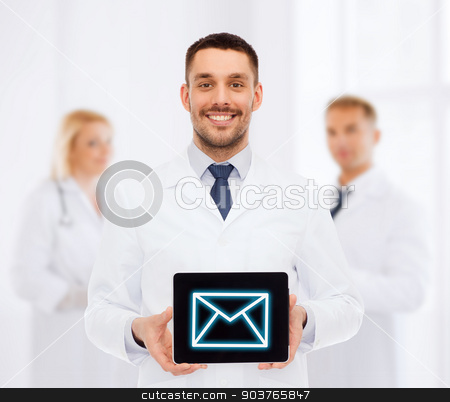 smiling male doctor with tablet pc stock photo, medicine, profession, and healthcare concept - smiling male doctor with tablet pc computer by Syda Productions