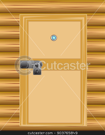 Wall with door on lock stock vector clipart, Wooden door with lock on background wall from wood by cobol1964