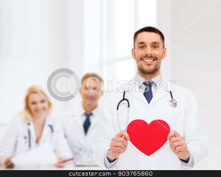 smiling male doctor with red heart stock photo, medicine, profession, and healthcare concept - smiling male doctor with red heart and stethoscope by Syda Productions