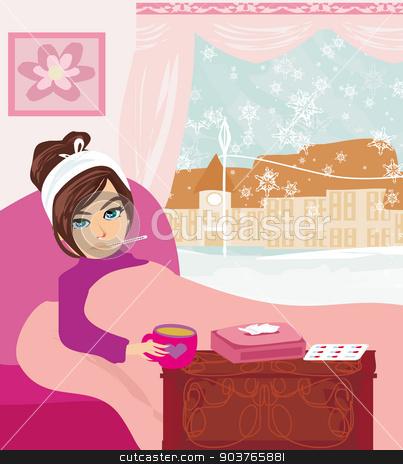sick girl lying in bed  stock vector clipart, sick girl lying in bed  by Jacky Brown