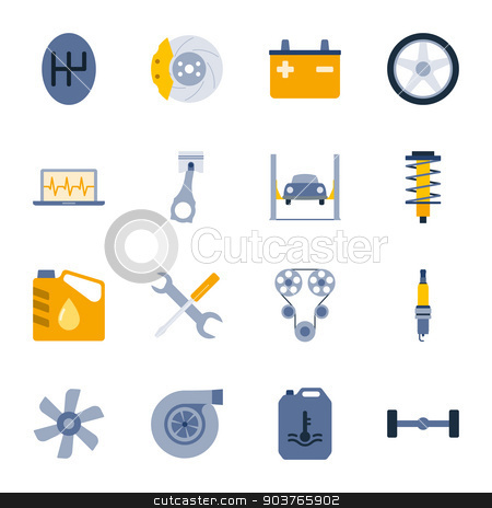 Car service flat icons set stock vector clipart, Car service flat icons set graphic illustration design by Equipoise