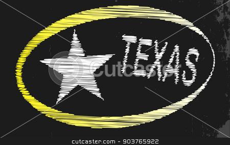 Texas Blackboard stock vector clipart, A blackboard with a chalk word Texas by Kotto