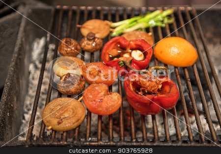 grilled vegetable stock photo, Different vegetables on the grill preparing  by olinchuk