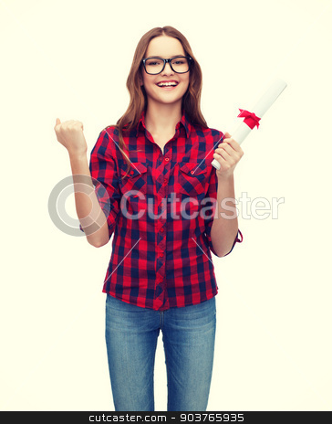 smiling female student in eyeglasses with diploma stock photo, university and education concept - smiling female student in eyeglasses with diploma by Syda Productions