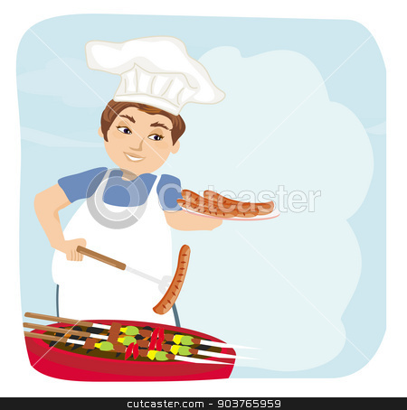 man baked sausage on grill.  stock vector clipart, man baked sausage on grill.  by Jacky Brown