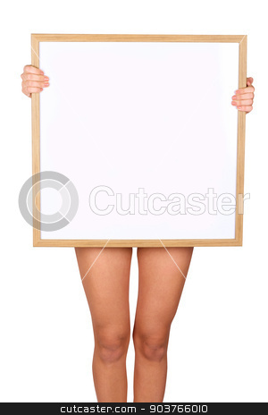 blank white board  stock photo, girl with blank white board  by olinchuk
