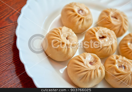 Buuza  stock photo, Buuza is a Buryat or Mongolian national dish, paste packets stuffed with minced meat and then steamed by olinchuk
