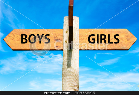Boys versus Girls messages stock photo, Wooden signpost with two opposite arrows over clear blue sky, Boys versus Girls messages by Constantin Stanciu