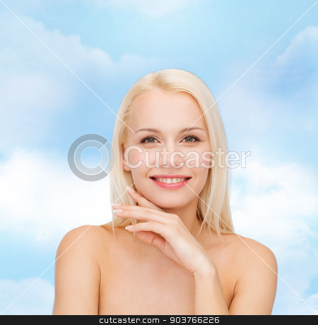 face and hands of beautiful woman stock photo, health and beauty concept - face and hands of beautiful woman by Syda Productions