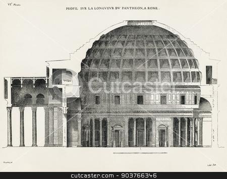 Pantheon in Rome VI stock photo, Profil sur la longueur du Pantheon, a Rome. Profile of the height of the Pantheon, in Rome. 1682. Desgodets, Antoine Babuty - Artist. Le Clerc, Sebastien - Engraver. by Suchota